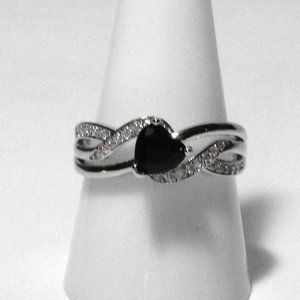 Ring Size 9 Simulated Diamond Heart Black Onyx 428